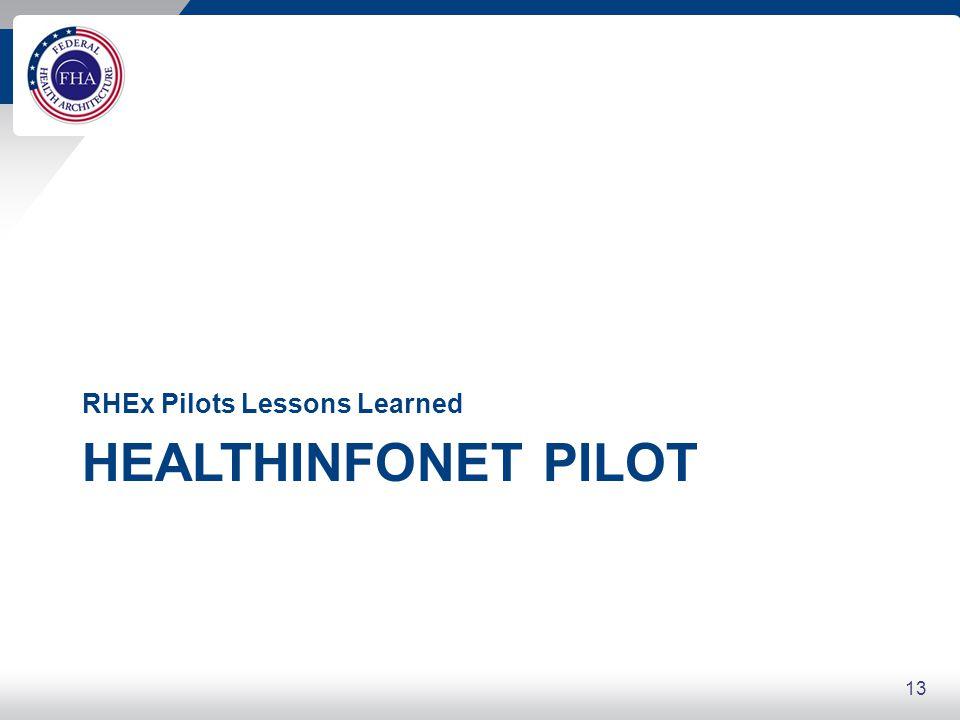 13 HEALTHINFONET PILOT RHEx Pilots Lessons Learned