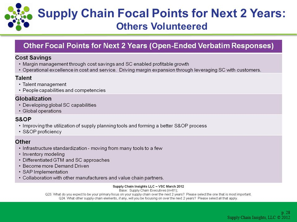 p. 28 Supply Chain Insights, LLC © 2012 Supply Chain Focal Points for Next 2 Years: Others Volunteered