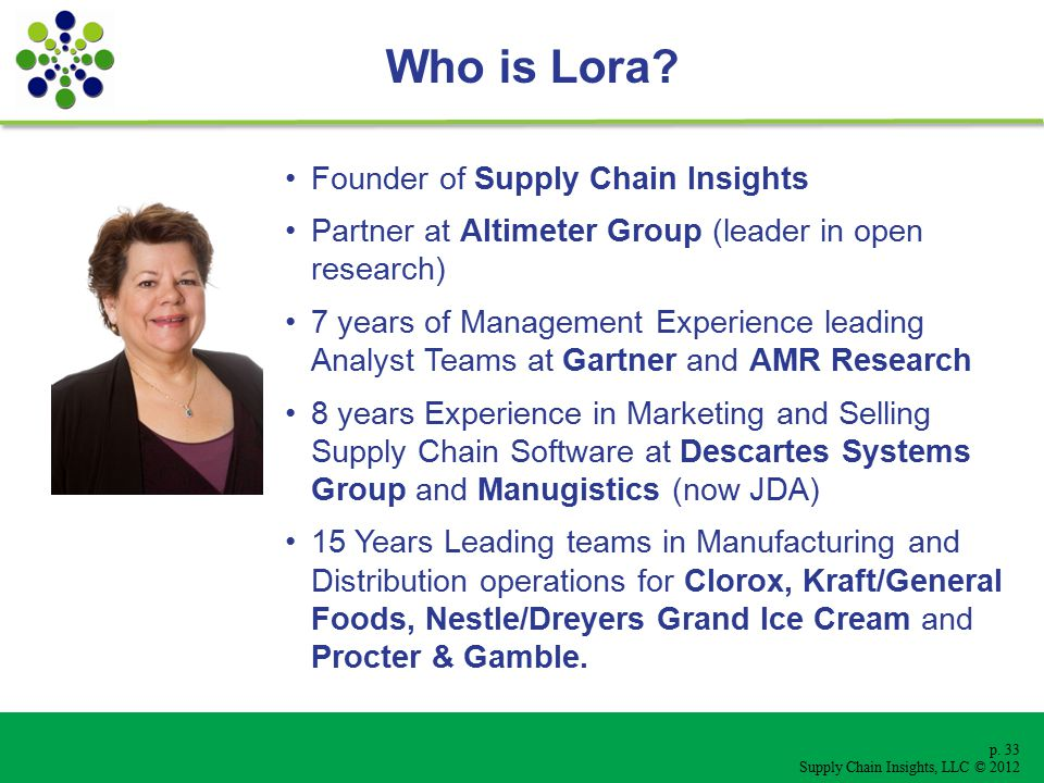 p. 33 Supply Chain Insights, LLC © 2012 Who is Lora.