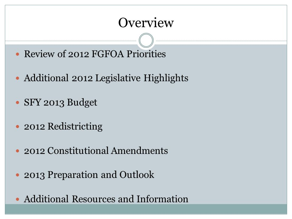 Overview Review of 2012 FGFOA Priorities Additional 2012 Legislative Highlights SFY 2013 Budget 2012 Redistricting 2012 Constitutional Amendments 2013 Preparation and Outlook Additional Resources and Information
