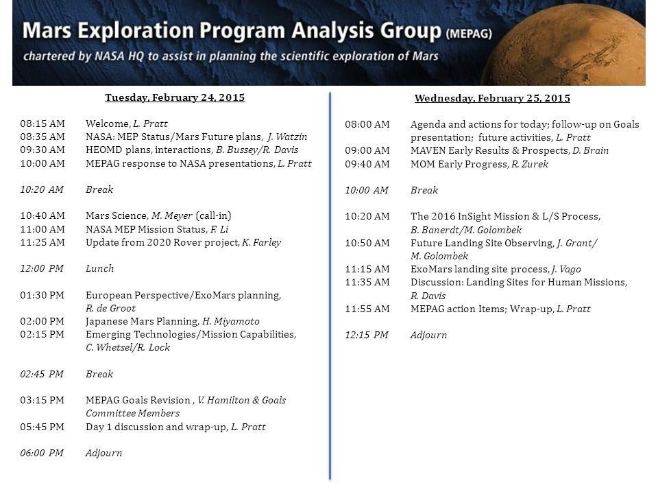 Tuesday, February 24, 2015 08:15 AMWelcome, L. Pratt 08:35 AMNASA: MEP Status/Mars Future plans, J. Watzin 09:30 AMHEOMD plans, interactions, B. Busse