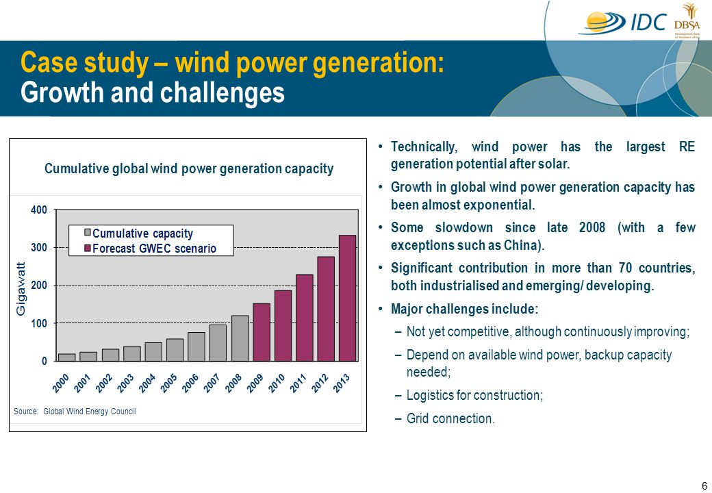 Case study – wind power generation: Potential and challenges SA's wind power potential: Recorded potential is only moderate at best, though data is insufficient ; Potential contribution to power generation in SA may be significantly higher – improved wind atlas being developed; Potential (average speed) directly affects unit cost; Some areas in east and north Africa seem to have higher wind power potential than South Africa.