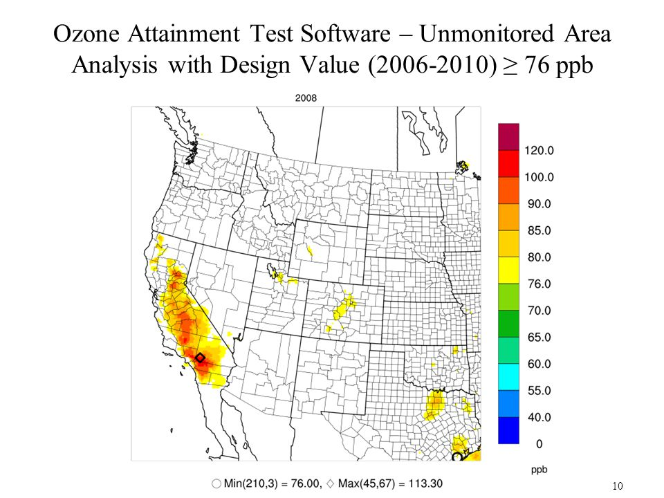 Ozone Attainment Test Software – Unmonitored Area Analysis with Design Value (2006-2010) ≥ 76 ppb 10