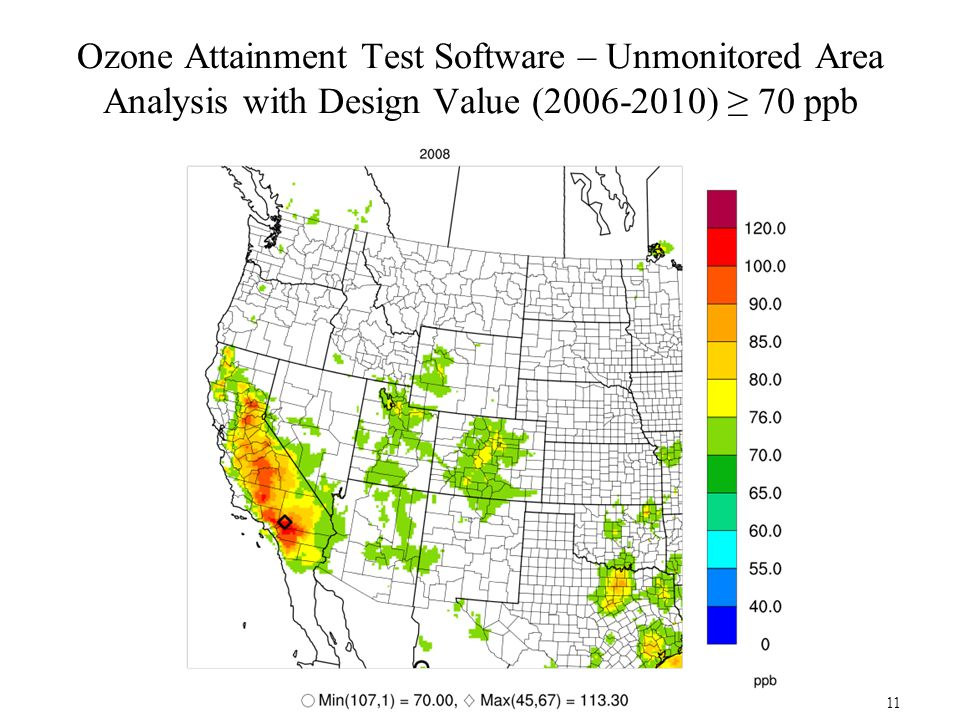 Ozone Attainment Test Software – Unmonitored Area Analysis with Design Value (2006-2010) ≥ 70 ppb 11
