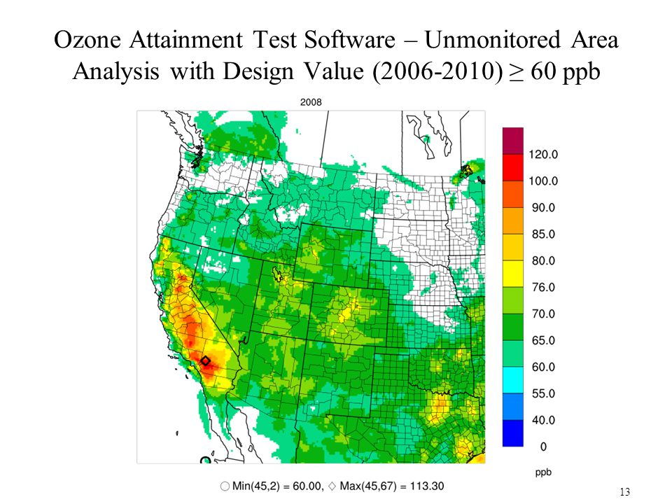 Ozone Attainment Test Software – Unmonitored Area Analysis with Design Value (2006-2010) ≥ 60 ppb 13