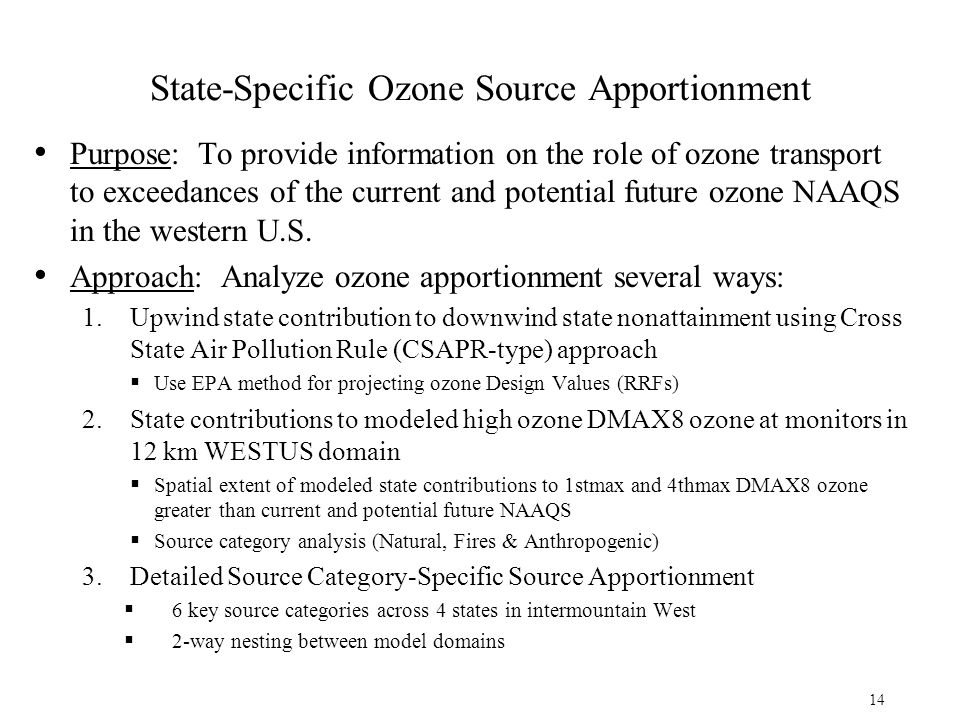 State-Specific Ozone Source Apportionment Purpose: To provide information on the role of ozone transport to exceedances of the current and potential future ozone NAAQS in the western U.S.