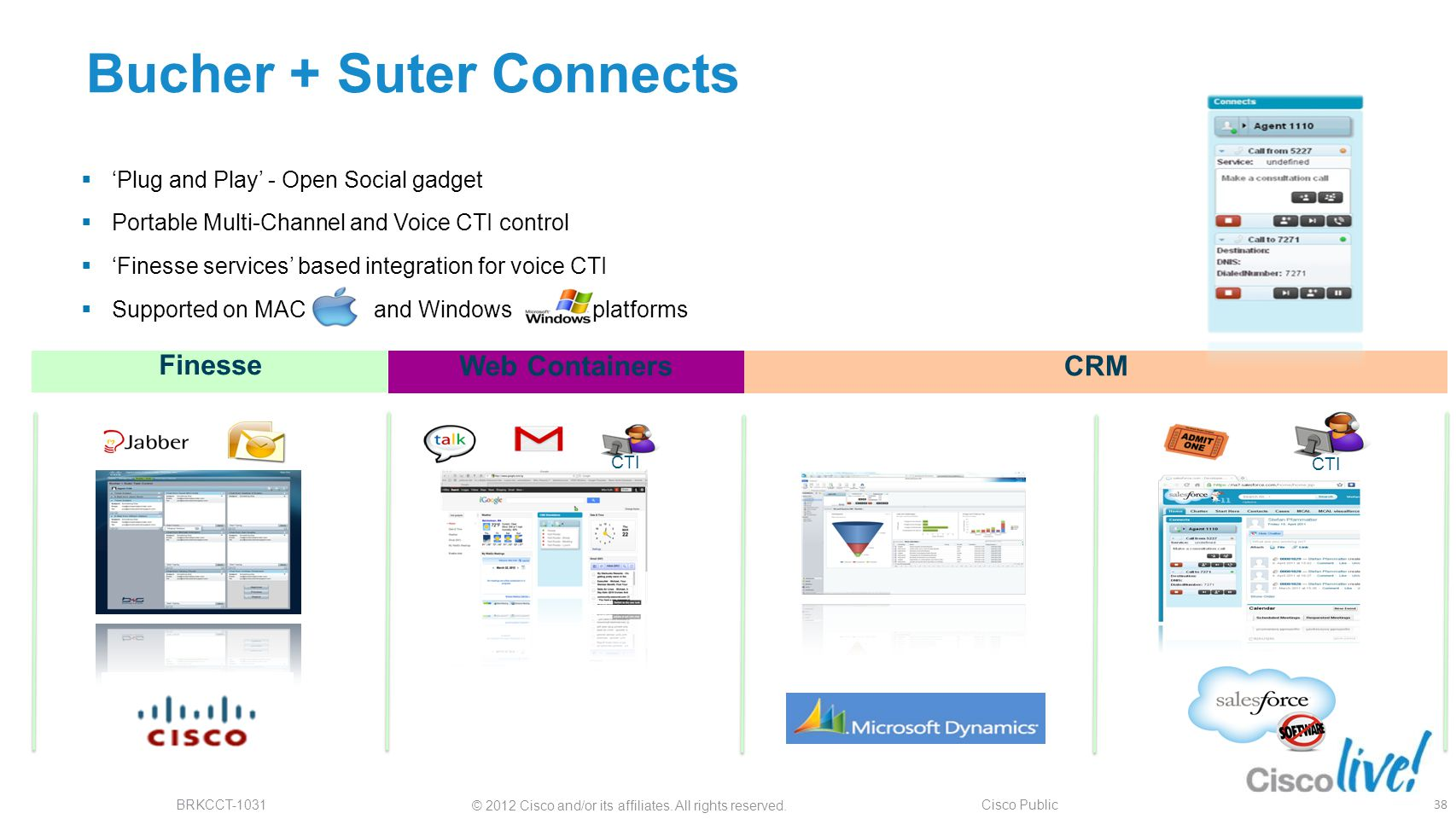 © 2012 Cisco and/or its affiliates. All rights reserved. BRKCCT-1031 Cisco Public Bucher + Suter Connects Finesse Web ContainersCRM CTI  'Plug and Pl