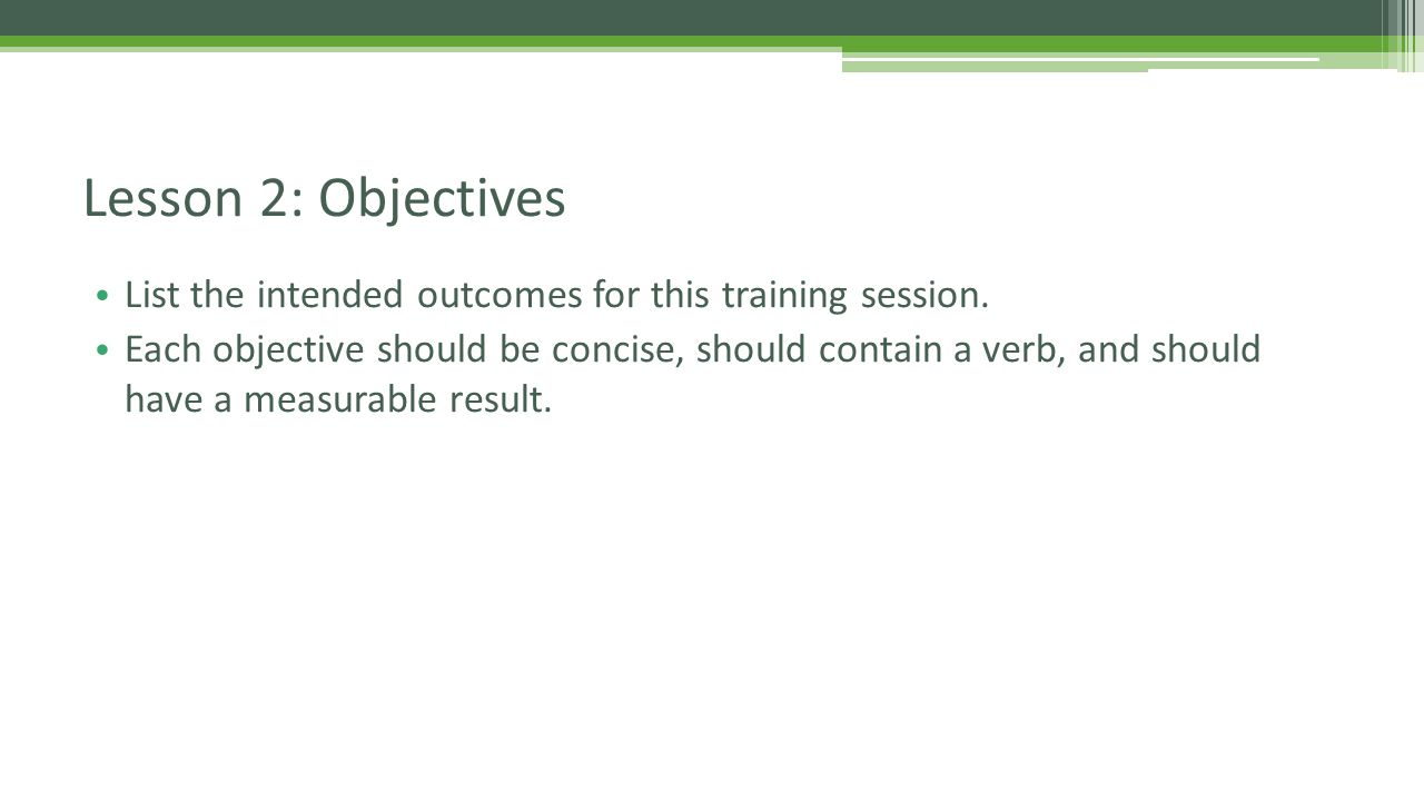 List the intended outcomes for this training session.