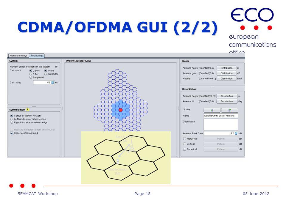 SEAMCAT WorkshopPage 1505 June 2012 CDMA/OFDMA GUI (2/2)