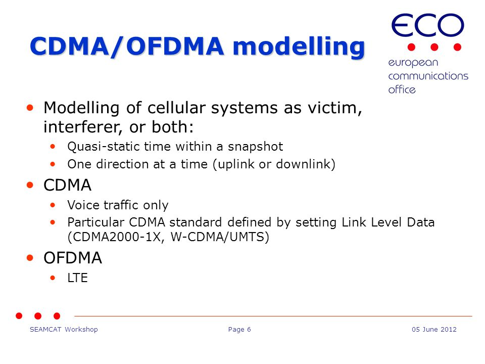 SEAMCAT WorkshopPage 1705 June 2012 Conclusions Harmonised interface between generic and CDMA/OFDMA modules Versatile tool to configure victim and interferer
