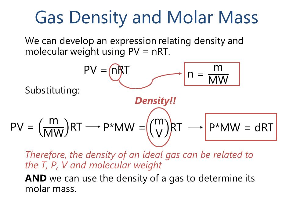 Gas Density and Molar Mass We can develop an expression relating density and molecular weight using PV = nRT.