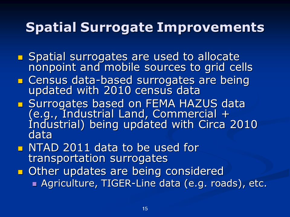 Spatial Surrogate Improvements Spatial surrogates are used to allocate nonpoint and mobile sources to grid cells Spatial surrogates are used to allocate nonpoint and mobile sources to grid cells Census data-based surrogates are being updated with 2010 census data Census data-based surrogates are being updated with 2010 census data Surrogates based on FEMA HAZUS data (e.g., Industrial Land, Commercial + Industrial) being updated with Circa 2010 data Surrogates based on FEMA HAZUS data (e.g., Industrial Land, Commercial + Industrial) being updated with Circa 2010 data NTAD 2011 data to be used for transportation surrogates NTAD 2011 data to be used for transportation surrogates Other updates are being considered Other updates are being considered Agriculture, TIGER-Line data (e.g.