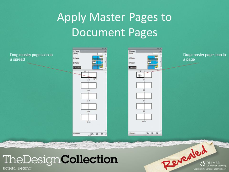 Drag master page icon to a spread Drag master page icon to a page Apply Master Pages to Document Pages