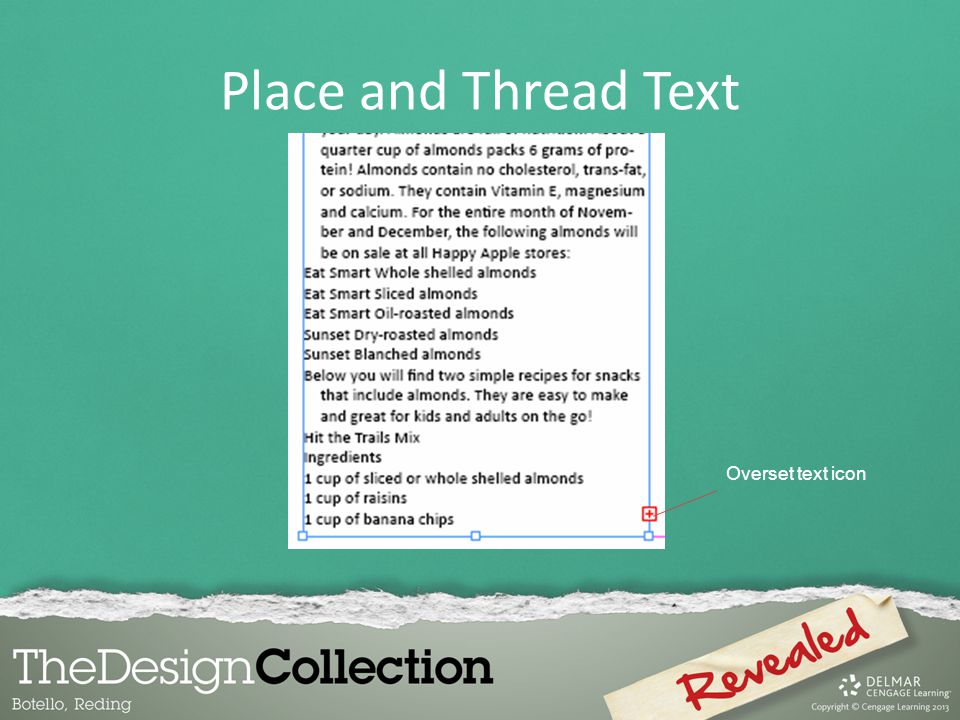Overset text icon Place and Thread Text