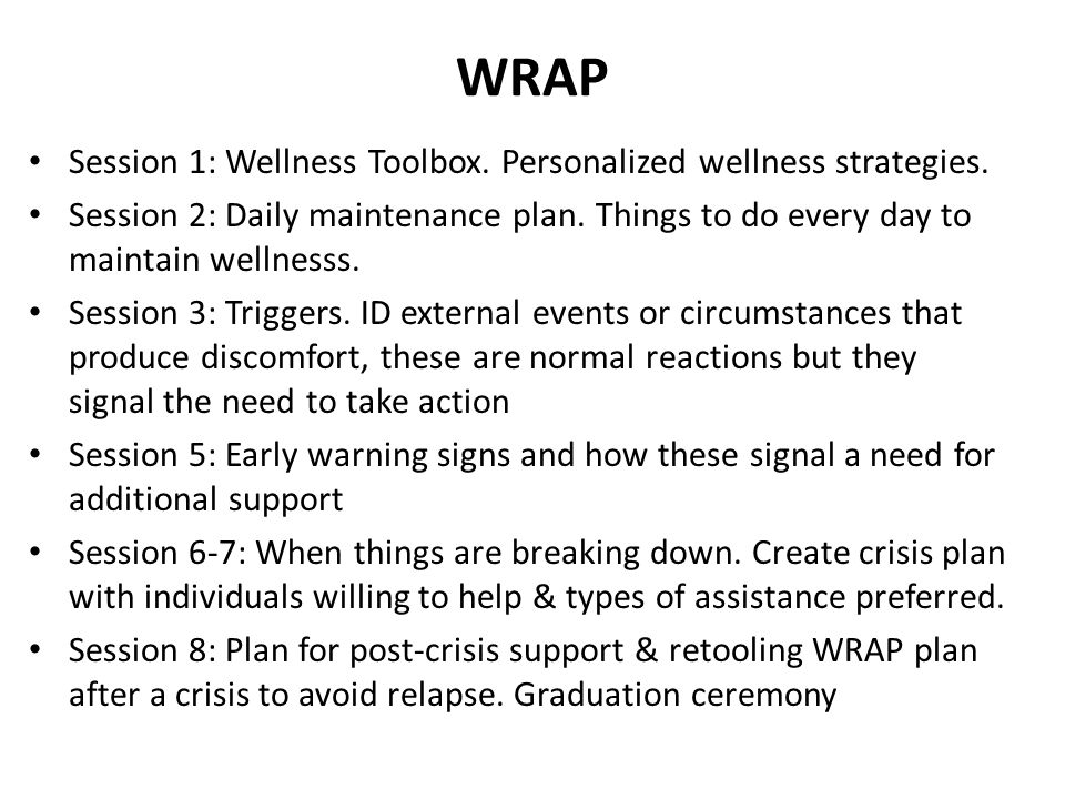 WRAP Session 1: Wellness Toolbox. Personalized wellness strategies.