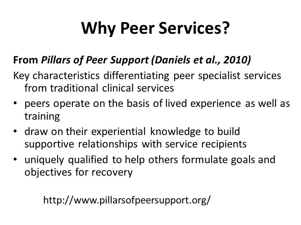 in 22 states with a peer workforce Pillars of Peer Support, Daniels et al, 2010