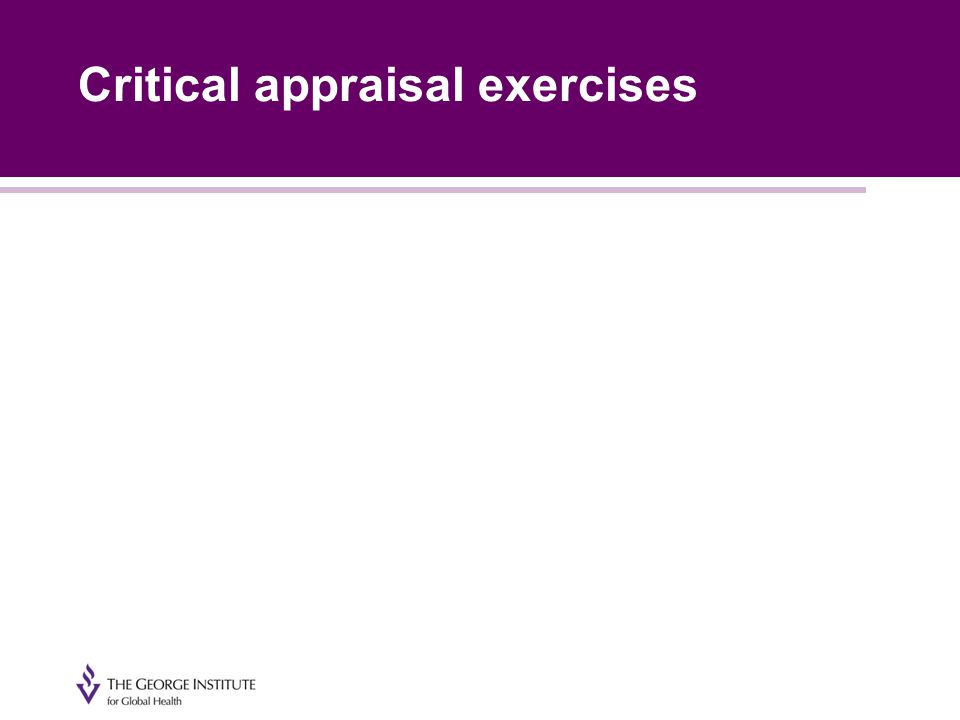 Critical appraisal exercises