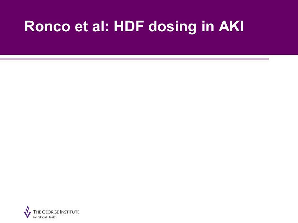 Ronco et al: HDF dosing in AKI