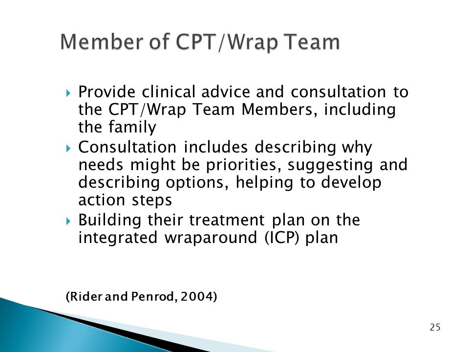 Member of CPT/Wrap Team  Provide clinical advice and consultation to the CPT/Wrap Team Members, including the family  Consultation includes describing why needs might be priorities, suggesting and describing options, helping to develop action steps  Building their treatment plan on the integrated wraparound (ICP) plan (Rider and Penrod, 2004) 25