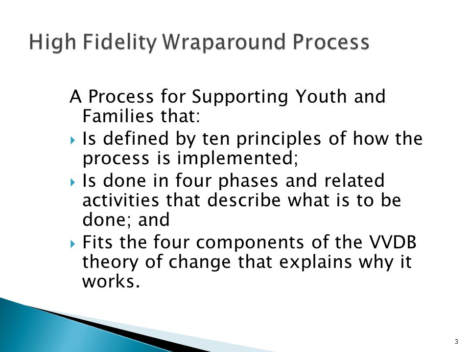 A Process for Supporting Youth and Families that:  Is defined by ten principles of how the process is implemented;  Is done in four phases and related activities that describe what is to be done; and  Fits the four components of the VVDB theory of change that explains why it works.