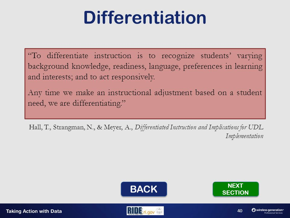 To differentiate instruction is to recognize students' varying background knowledge, readiness, language, preferences in learning and interests; and to act responsively.