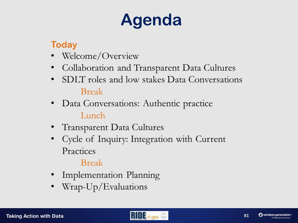 Agenda Today Welcome/Overview Collaboration and Transparent Data Cultures SDLT roles and low stakes Data Conversations Break Data Conversations: Authentic practice Lunch Transparent Data Cultures Cycle of Inquiry: Integration with Current Practices Break Implementation Planning Wrap-Up/Evaluations 81