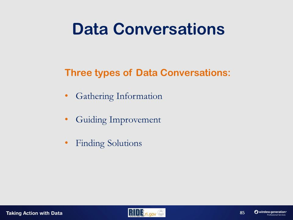 Three types of Data Conversations: Gathering Information Guiding Improvement Finding Solutions Data Conversations 85