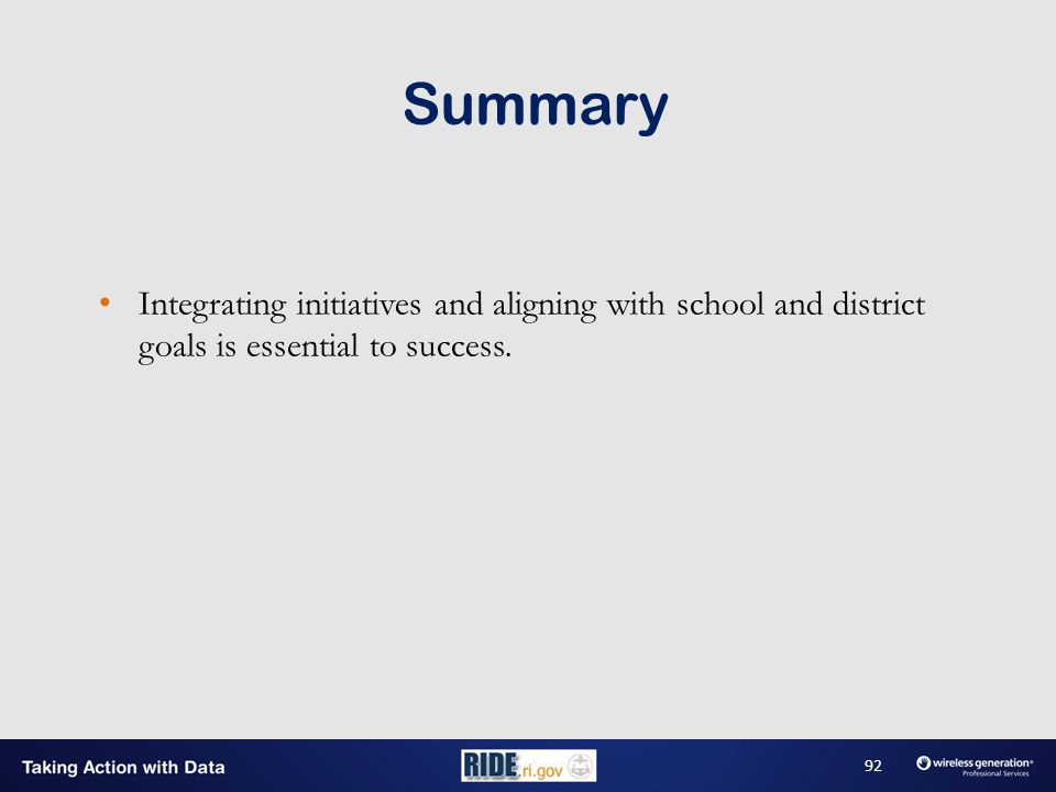 Integrating initiatives and aligning with school and district goals is essential to success.