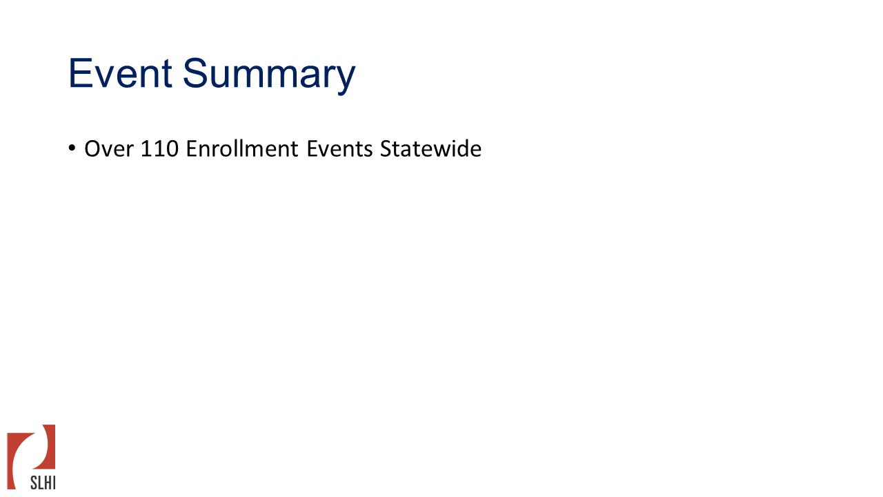 Event Summary Over 110 Enrollment Events Statewide