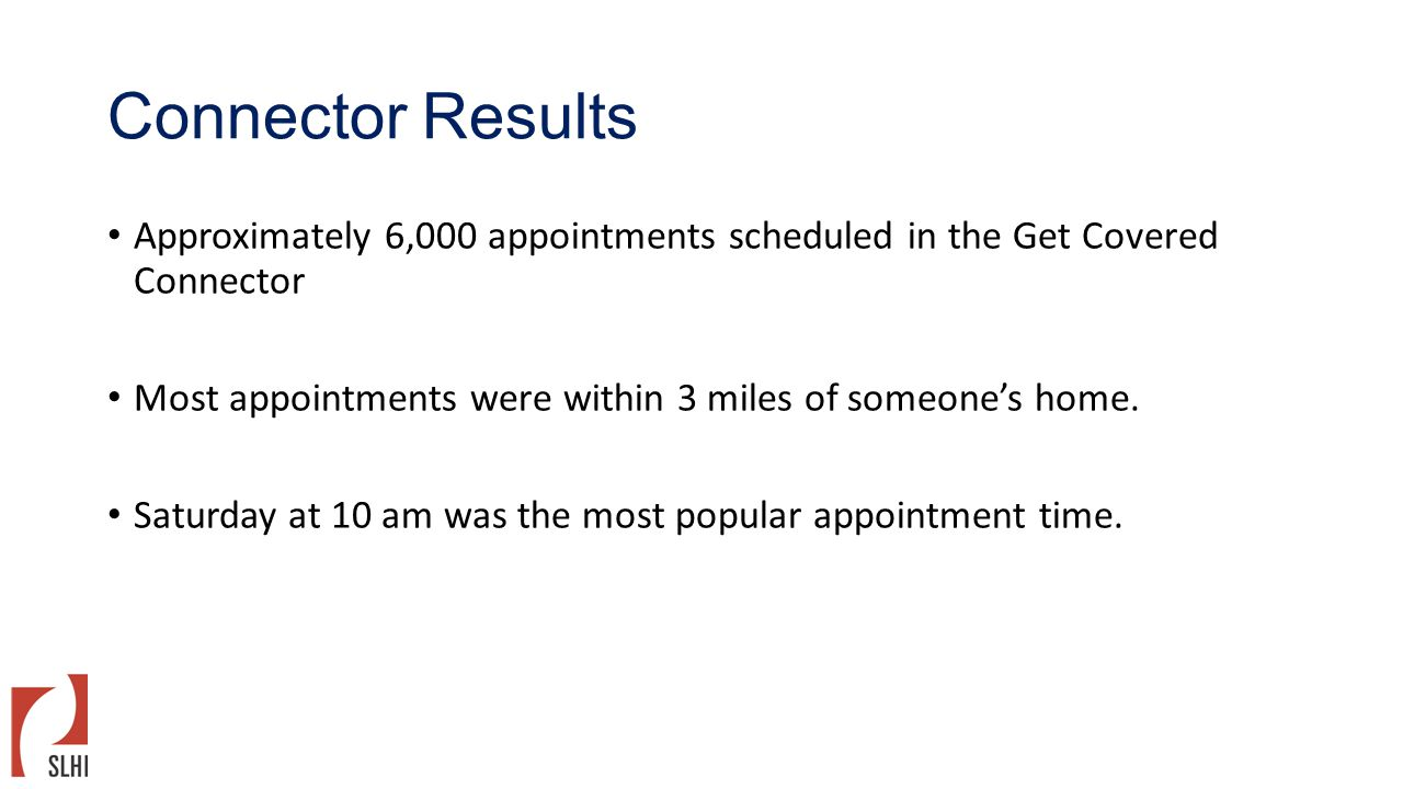Connector Results Approximately 6,000 appointments scheduled in the Get Covered Connector Most appointments were within 3 miles of someone's home. Sat