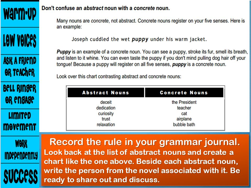 Record the rule in your grammar journal. Look back at the list of abstract nouns and create a chart like the one above. Beside each abstract noun, wri