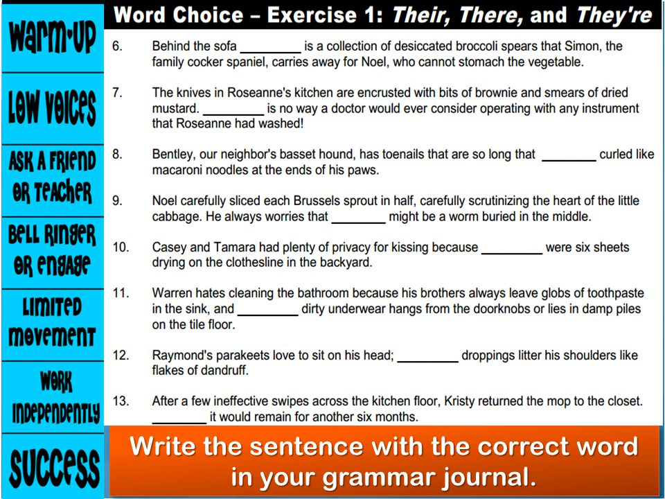 Write the sentence with the correct word in your grammar journal.