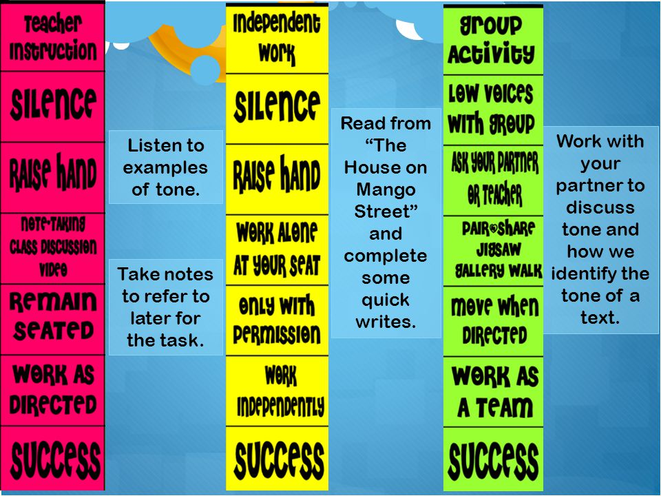 """Listen to examples of tone. Take notes to refer to later for the task. Read from """"The House on Mango Street"""" and complete some quick writes. Work with"""
