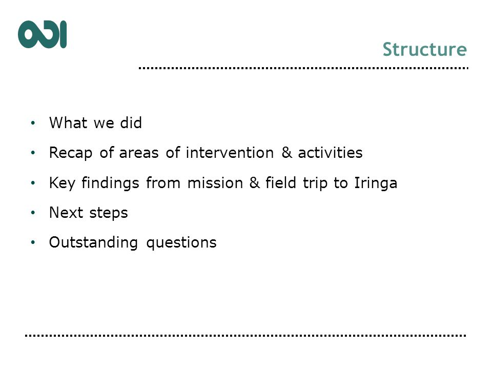 Structure What we did Recap of areas of intervention & activities Key findings from mission & field trip to Iringa Next steps Outstanding questions