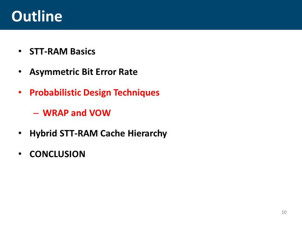 Outline STT-RAM Basics Asymmetric Bit Error Rate Probabilistic Design Techniques – WRAP and VOW Hybrid STT-RAM Cache Hierarchy CONCLUSION 10