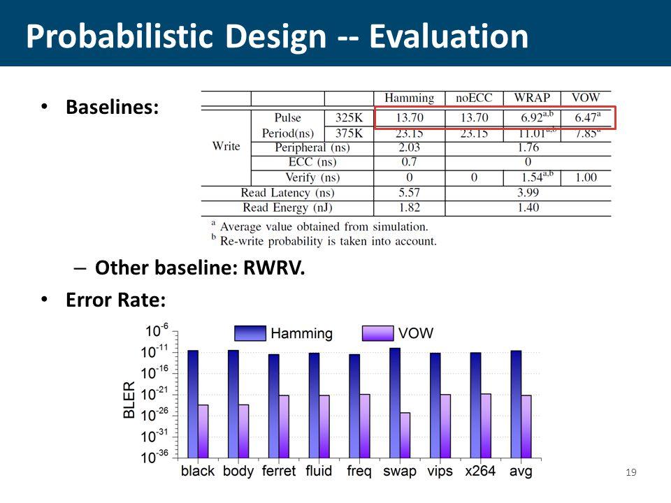 Probabilistic Design -- Evaluation Baselines: – Other baseline: RWRV. Error Rate: 19