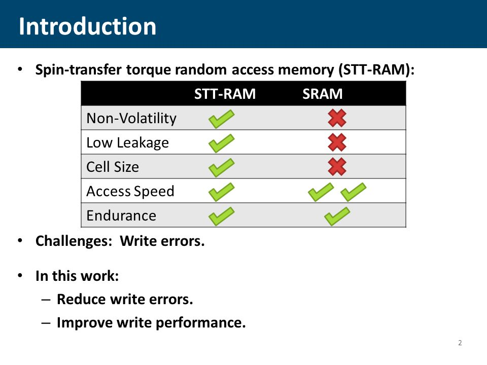 Introduction Spin-transfer torque random access memory (STT-RAM): Challenges: Write errors.