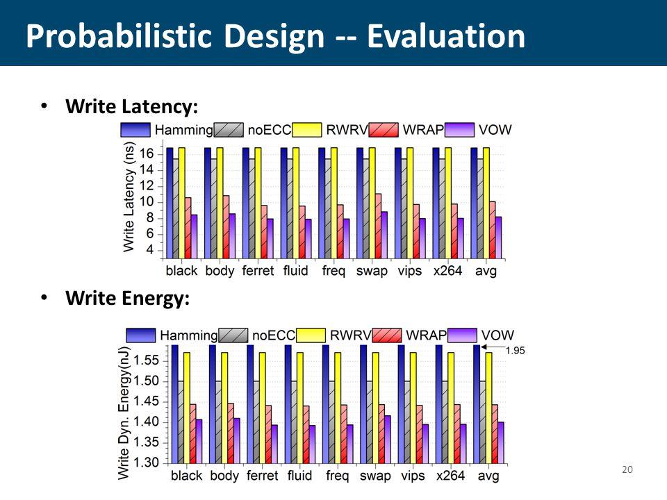 Probabilistic Design -- Evaluation Write Latency: Write Energy: 20