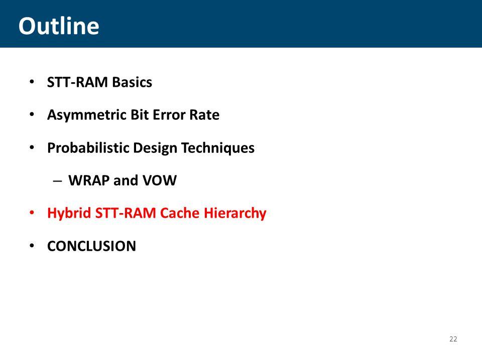 Outline STT-RAM Basics Asymmetric Bit Error Rate Probabilistic Design Techniques – WRAP and VOW Hybrid STT-RAM Cache Hierarchy CONCLUSION 22