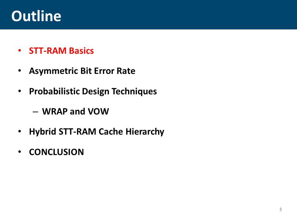 Outline STT-RAM Basics Asymmetric Bit Error Rate Probabilistic Design Techniques – WRAP and VOW Hybrid STT-RAM Cache Hierarchy CONCLUSION 3