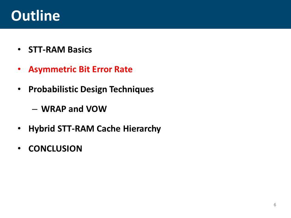 Outline STT-RAM Basics Asymmetric Bit Error Rate Probabilistic Design Techniques – WRAP and VOW Hybrid STT-RAM Cache Hierarchy CONCLUSION 6