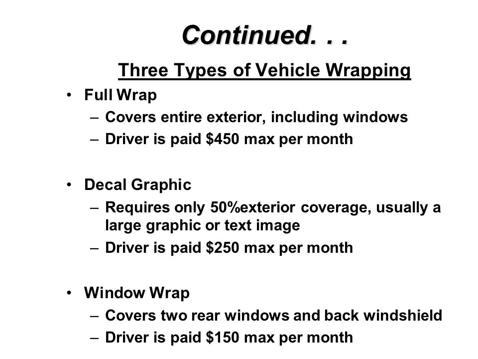 Wrapping for the Consumer Companies such as Autowraps, Media Vehicles and Ads on Wheels are designed to accommodate people who would like to have thei