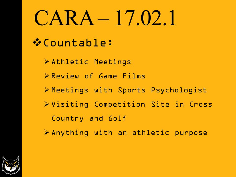 CARA – 17.02.1  Countable:  Athletic Meetings  Review of Game Films  Meetings with Sports Psychologist  Visiting Competition Site in Cross Country and Golf  Anything with an athletic purpose