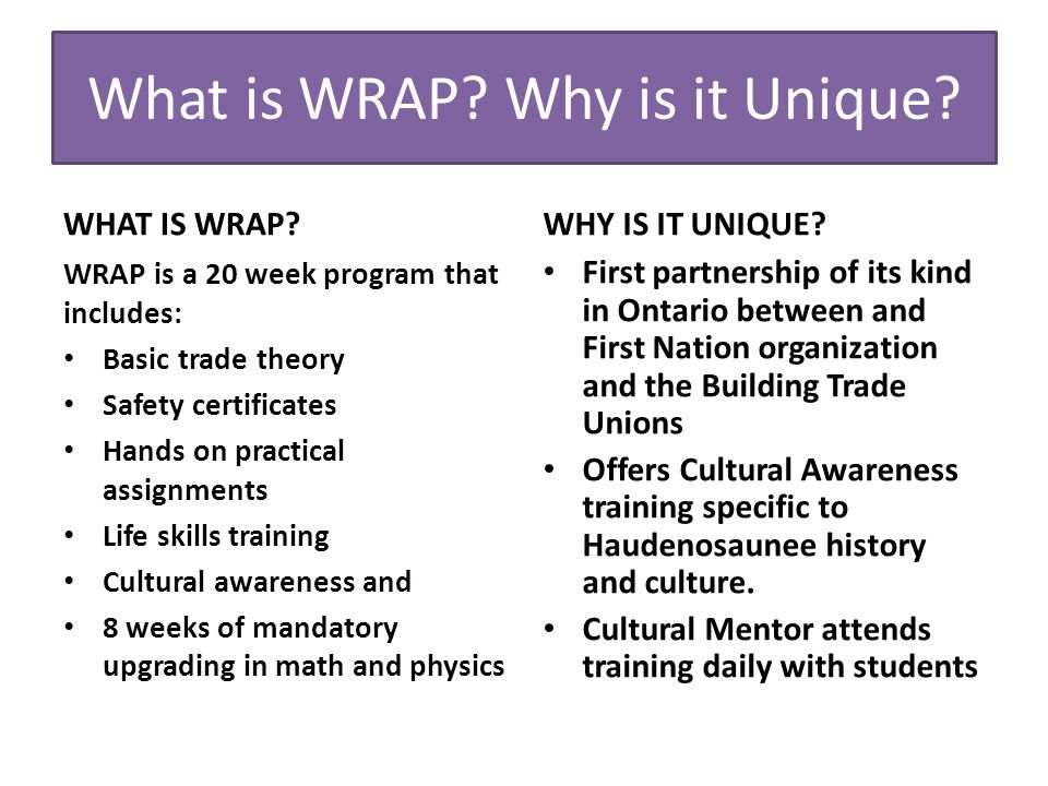 What is WRAP. Why is it Unique. WHAT IS WRAP.