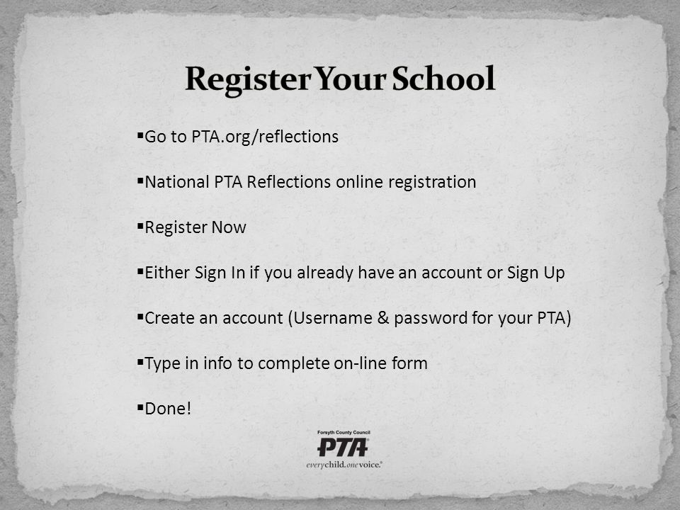  Go to PTA.org/reflections  National PTA Reflections online registration  Register Now  Either Sign In if you already have an account or Sign Up 