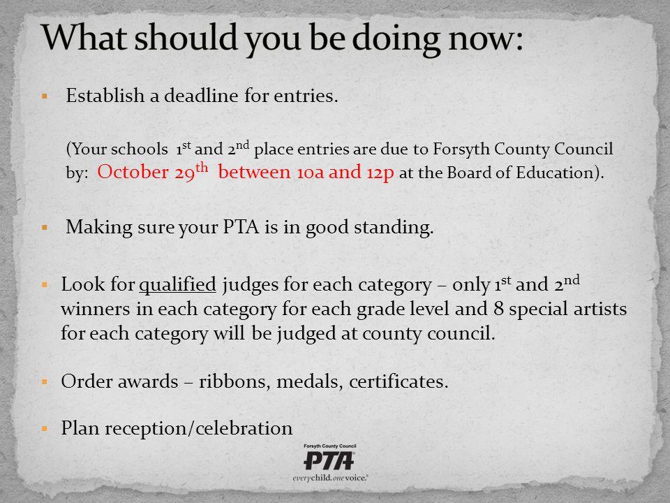  Establish a deadline for entries.
