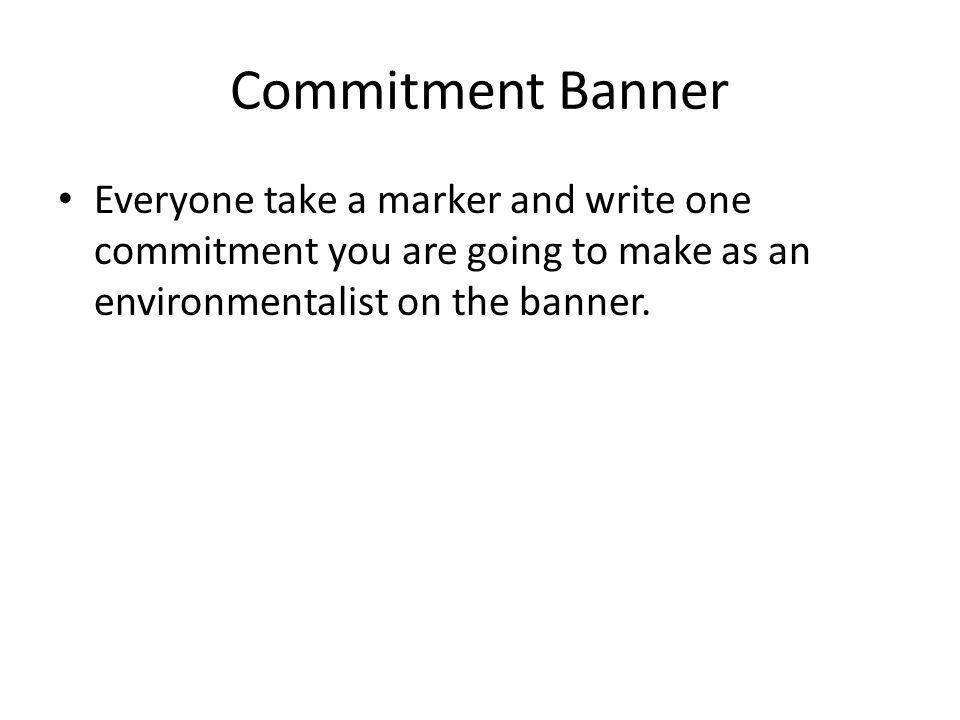 Commitment Banner Everyone take a marker and write one commitment you are going to make as an environmentalist on the banner.