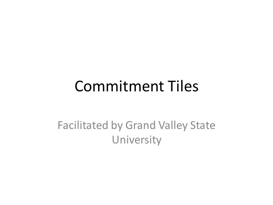 Commitment Tiles Facilitated by Grand Valley State University