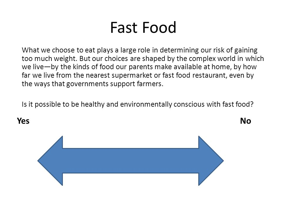 Fast Food YesNo What we choose to eat plays a large role in determining our risk of gaining too much weight.