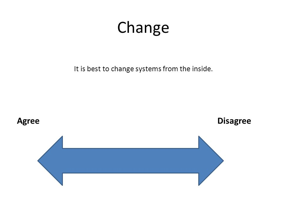 Change AgreeDisagree It is best to change systems from the inside.